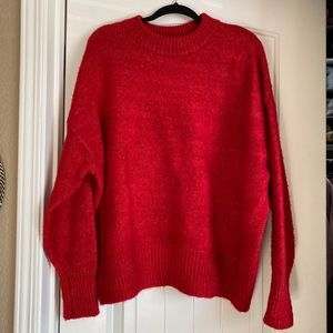 Zara knit red oversized crew neck  sweater small